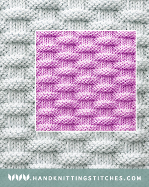 Hand Knitting Stitches - Basket Weave Knit Purl Pattern