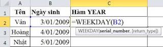 tinhoccoban.net - Hàm Weekday trong Excel