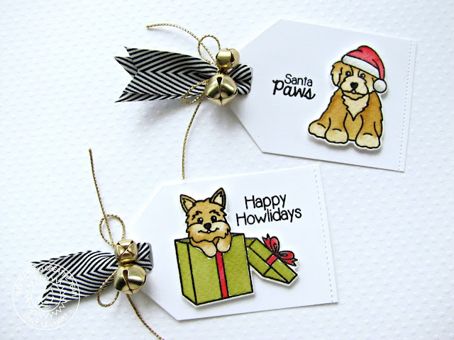 Sunny Studio Stamps: Santa's Helpers Cat & Dog Christmas Gift Tags with Video Tutorial by Emily Leiphart