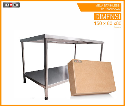 Meja Stainless steel anti karat 2 shelf reymetal.com