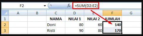 Rumus SUM Ms Excel