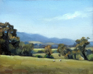 Landscape oil painting of distant hills with eucalypts and sheep in the foreground.