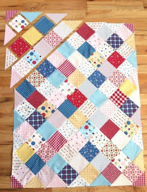 Patchwork On Point Quilt - Tutorial
