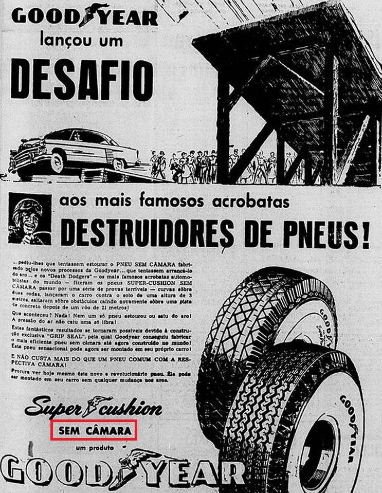 Anúncio da Goodyear promovendo sua linha de pneus sem câmara em 1957