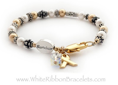 Lung Cancer Survivor Bracelet - White Ribbon Bracelets