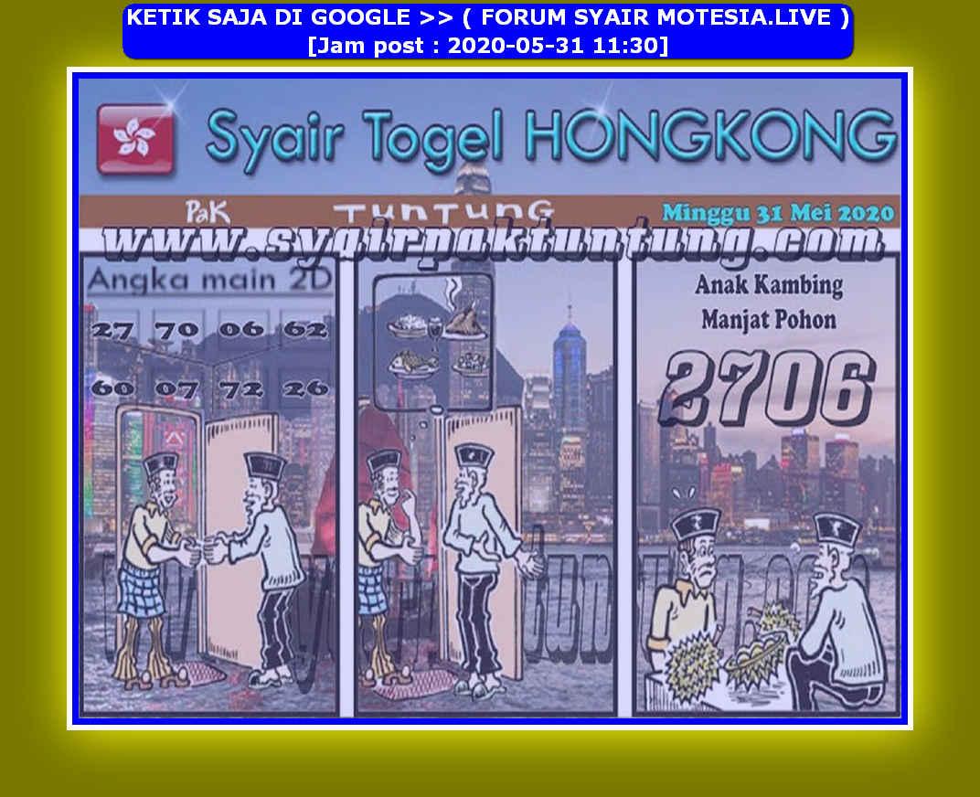 Kode syair Hongkong Minggu 31 Mei 2020 199