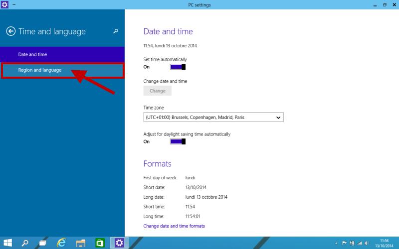 Changer la langue pc windows 8
