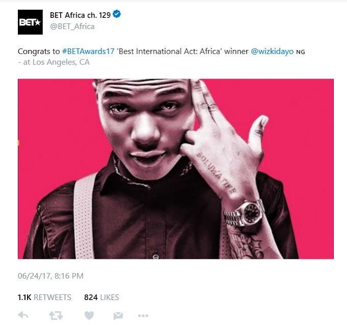Wizkid wins BET Awards' Best International Act (Africa)