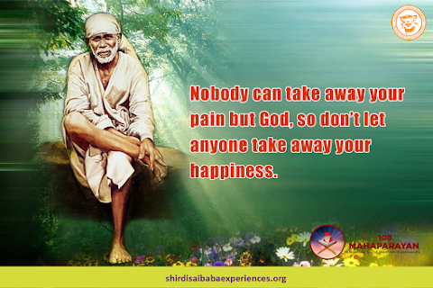 Pain And Happiness - Sai Baba Sitting On Stone Painting Image