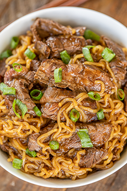 steak and ramen noodles in a bowl