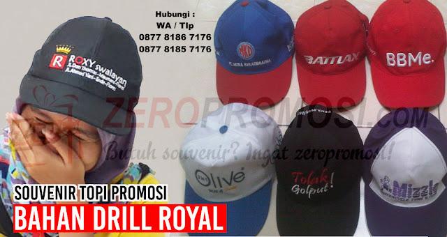 Jual Souvenir Topi Promosi bahan Drill Royal, Topi Drill Royal promosi, konveksi topi souvenir