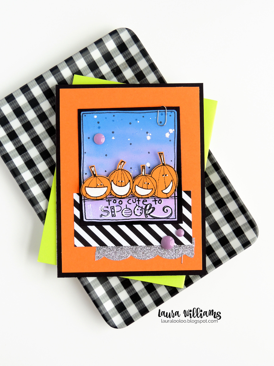 This image is a sweet handmade Halloween card with a row of four friendly, smiling pumpkins. The sentiment says Too Cute to Spook. The stamp is from Impression Obsession.