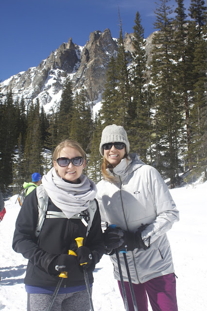 Lisa and Amanda Snowshoeing Rocky Mountain