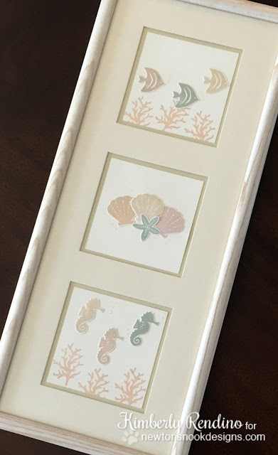 handmade | wall art | seashells | seahorses | tropical fish | fish | stamping | clear stamps | newton's nook designs | kimpletekreativity.blogspot.com