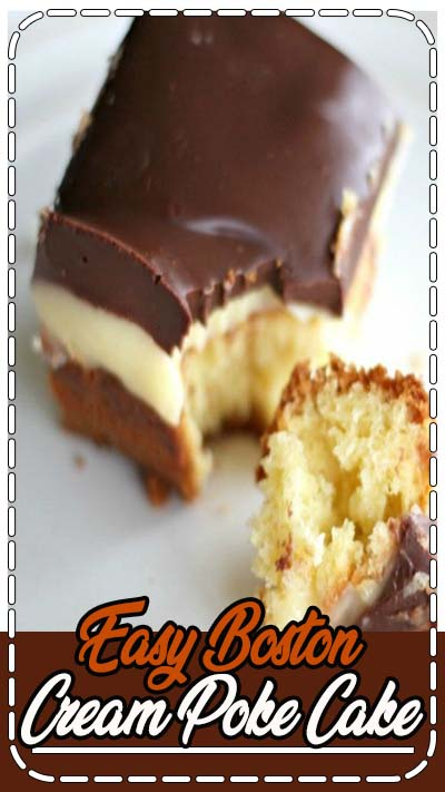 Boston Cream Poke Cake...yellow buttery cake filled with a french vanilla cream pudding and frosted with rich chocolate. Beyond doubt, this is a very heavenly dessert!
