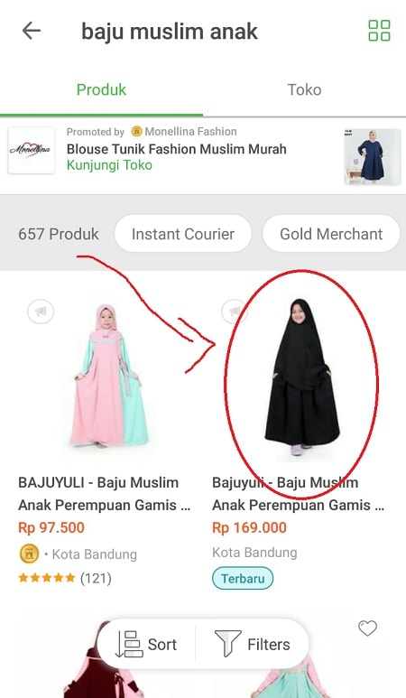 Halaman Pencarian Produk Tokopedia