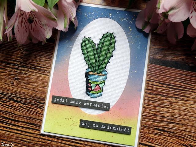 Imieniny miesiąca - kartka z kaktusem