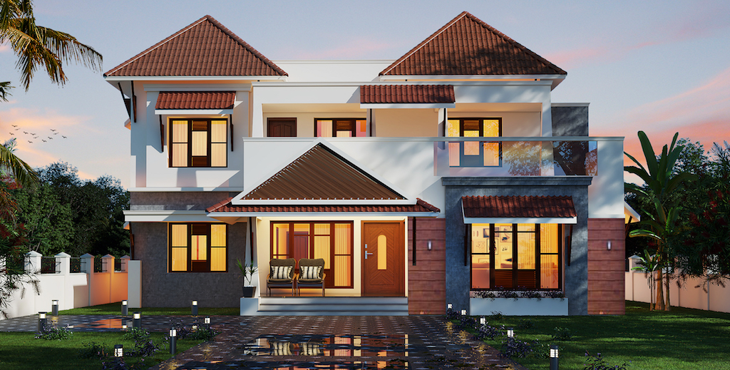 4 bed room residence traditional mixed Kerala Home