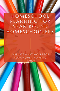 Text: Homeschool Planning for Year Round Homeschoolers; Evaluate what works for your homeschooling family; background image of colored pencils