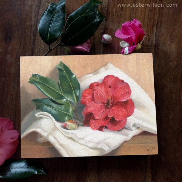 Camellia blossom oil painting