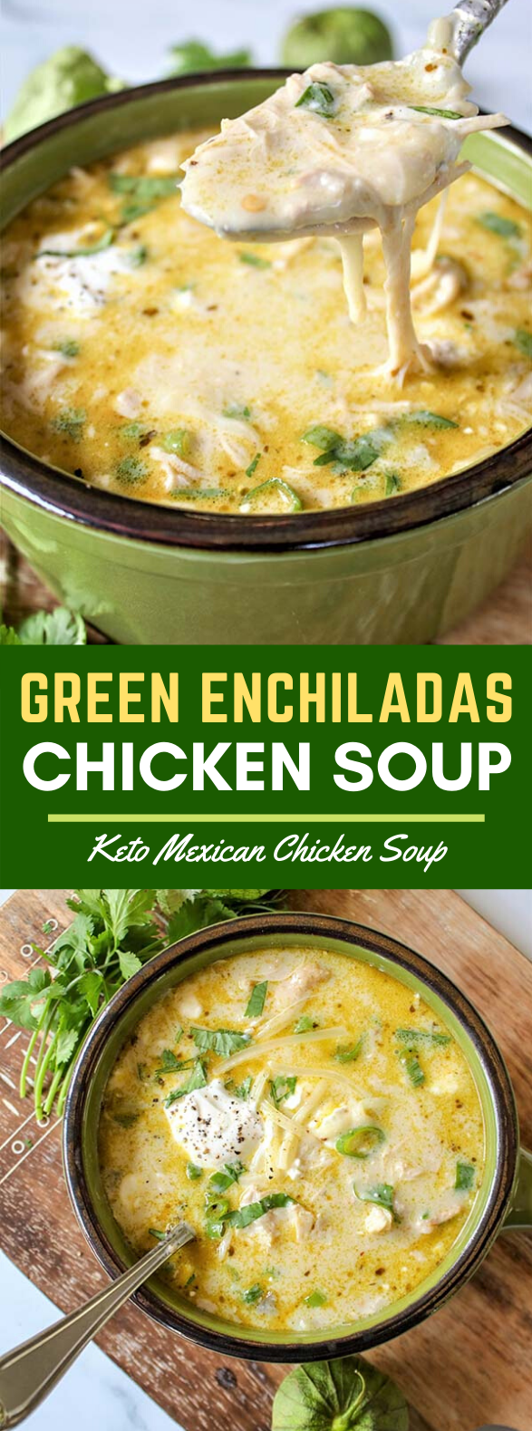 GREEN ENCHILADAS CHICKEN SOUP (KETO SLOW COOKER MEXICAN SOUP) #healthydinner #diet