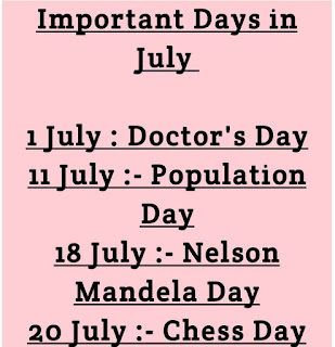 Important days and Events in July