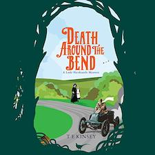 Death Around the Bend audiobook cover. The view through some trees to a road and a turn-of-the-century motor car.