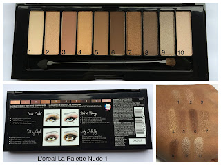 loreal la palatte nude 1 swatches on dark skin (woc)