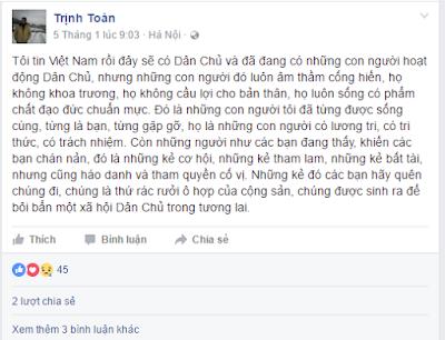 """Trịnh Toàn hô hào """"thay máu"""" phong trào dân chủ"""
