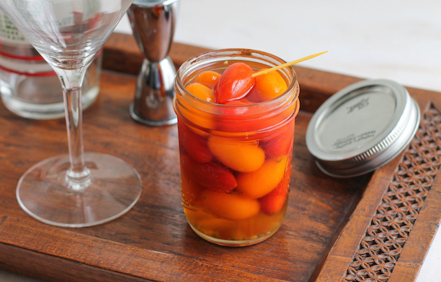 Food Lust People Love: Spicy pickled grape tomatoes are a tasty addition to salads or to serve alongside fish or chicken. The natural sweetness of the grape tomatoes are beautifully complemented by the rice vinegar, salty fish sauce and hot chili pepper. My favorite way to use them is in dirty martinis!