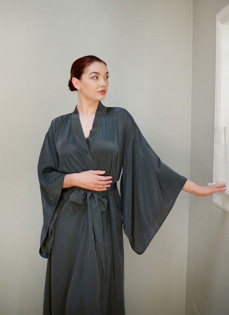 Dark charcoal grey crepe silk long kimono robe. Tall womens robe.