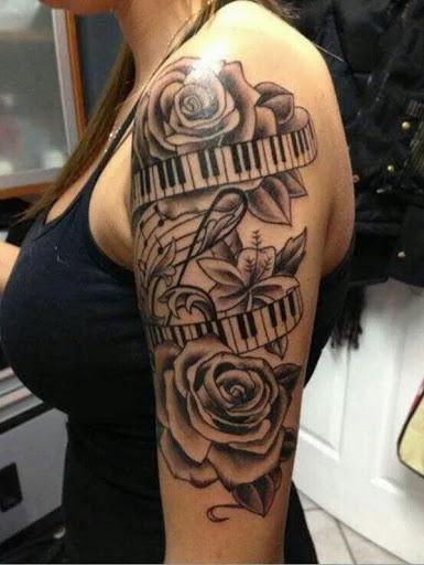 Belas Flores com Piano faixa de opções e as Notas da Música Tatuagem