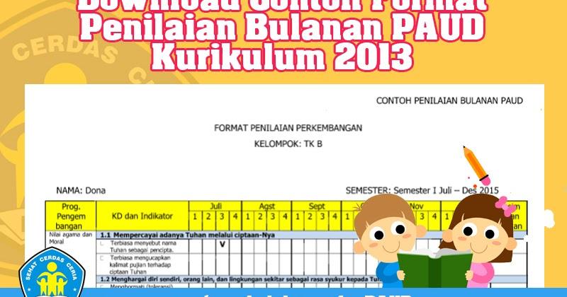 Download Contoh Format Penilaian Bulanan Paud Kurikulum 2013 Operator Sekolah