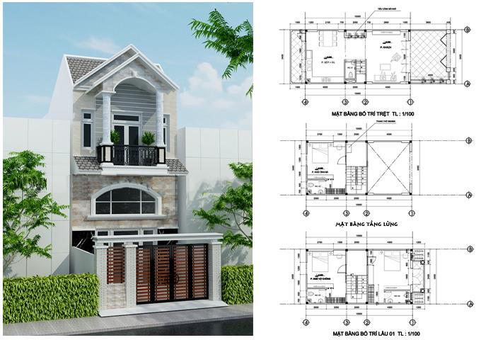 Mẫu thiết kế nhà ống đẹp 2 tầng – Mẫu nhà đẹp 5,4 x10,5 m