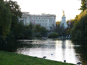 View across the water in St James's Park to Buckingham Palace (2014)
