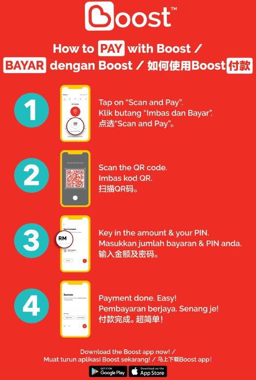 Cara bayar guna Boost