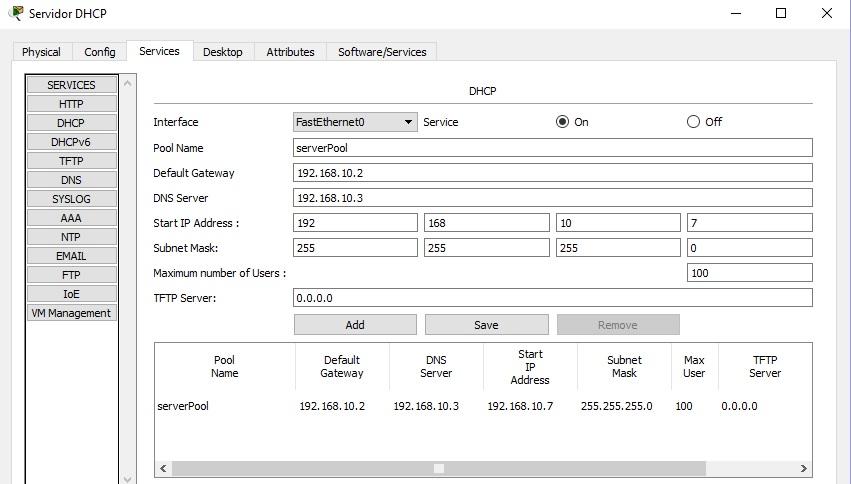 Configuración de servidor dhcp en packet tracer