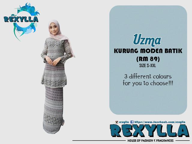 rexylla, baju kurung, kurung moden, batik, batik print, uzma collection