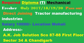 Required Diploma/ITI Mechanical Fresher Only 2017/18/19/20 pass out Direct Joining Tractor