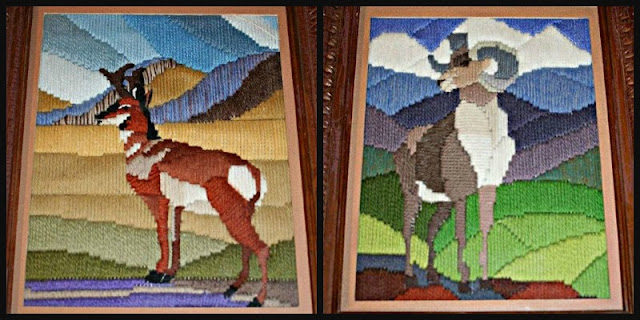 Pronghorn and bighorn in French longstitch