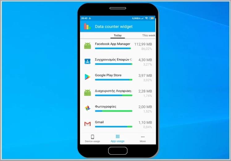 Data counter widget :  Δείτε  πόσα δεδομένα καταναλώνουν  οι εφαρμογές σας