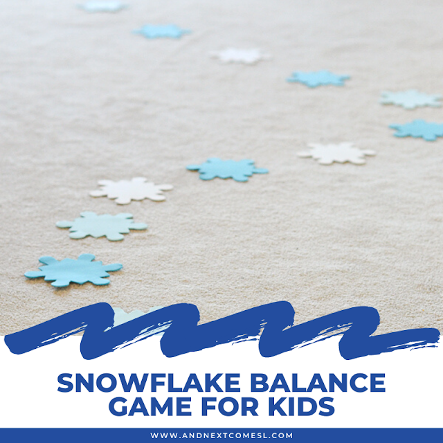 Snowflake activity and balancing game for kids