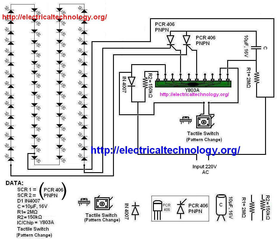 diagram of led string strip circuit using pcr406