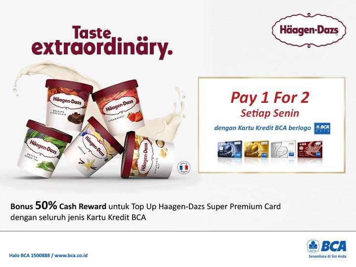 Bank BCA - Promo Senin Pay 1 For 2 Taste Extraordinary Haagen Dazs