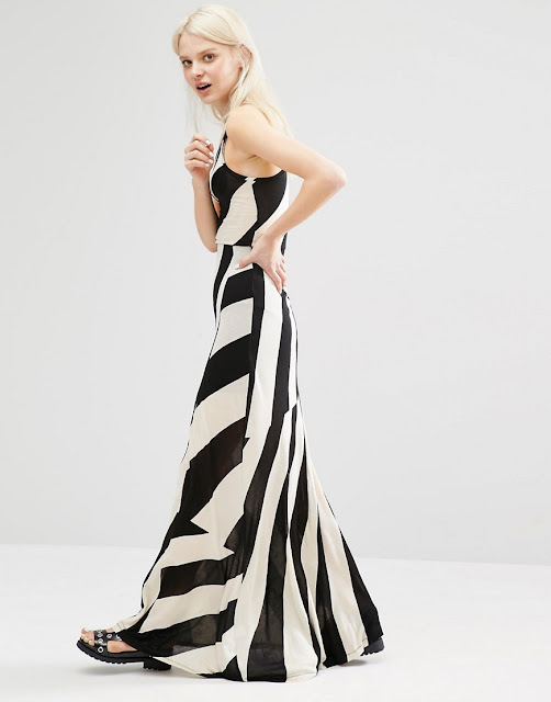 cheap monday black white maxi dress, black white stripe maxi dress,