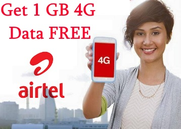 My Airtel App Welcome Offer : Get 1 GB Free 3G/4G Data For All Prepaid Users