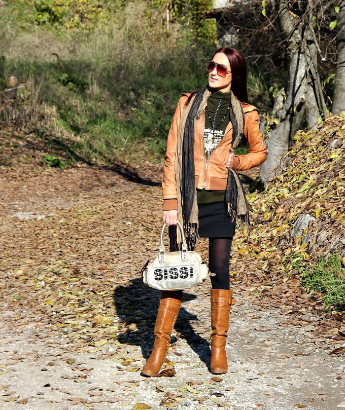 tan leather jacket tan leather boots fall outfit
