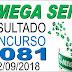 Resultado da Mega Sena concurso 2081 (22/09/2018)