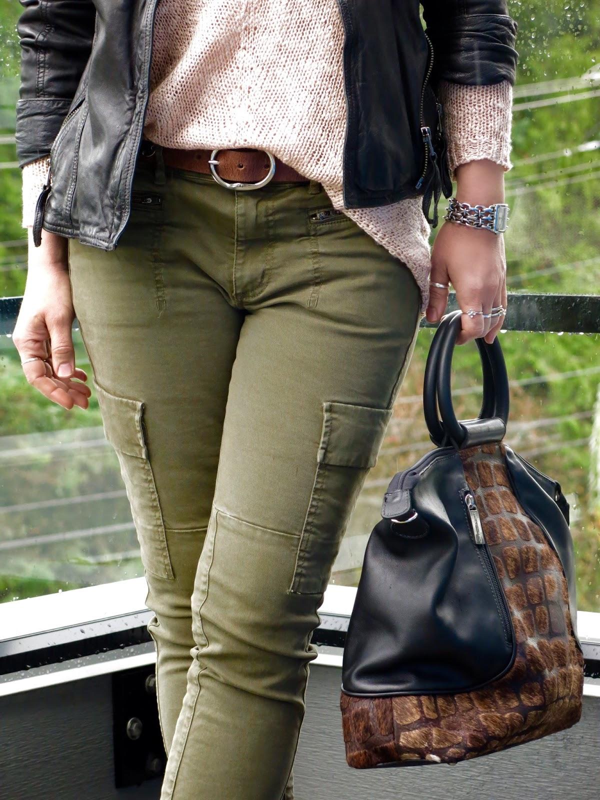 skinny cargo pants, drapey sweater, moto jacket, and Matteo Mio bag