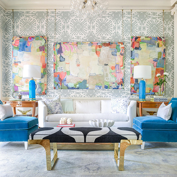 Aesthetic oiseau friday crush look at this art by cathy lancaster hanging against quadrille wallpaper at the store blue print in dallas layer in the furniture arrangement colors malvernweather Images